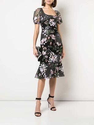 Marchesa Notte Short Sleeve Floral Embroidered Midi Dress