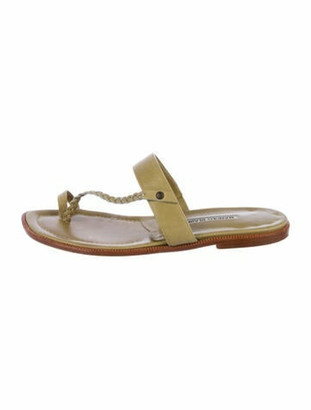 Manolo Blahnik Leather Thong Sandals Olive