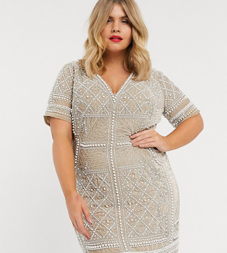 Asos DESIGN Curve pearl velvet short sleeve embellished mini dress