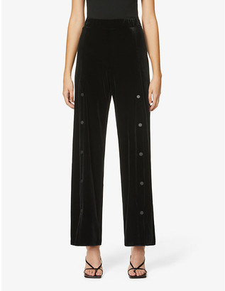 Wolford Blake button-down flared high-rise velvet trousers
