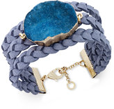 INC International Concepts Druzy Crystal Faux-Leather Cuff Bracelet, Only at Macy's