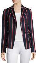 Rag & Bone Howson Striped Asymmetric Blazer, Blue/Red/White