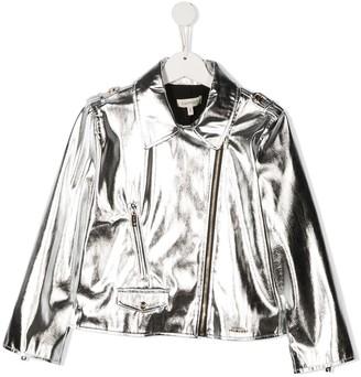 Twin-Set TEEN metallic biker jacket