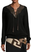 Ralph Lauren Embroidered Leather-Trim Cashmere Sweater, Black/Brown