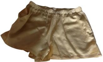 BA&SH Gold Silk Shorts