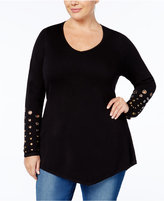 Belldini Plus Size Grommeted-Sleeve Sweater