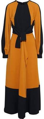 Proenza Schouler Tie-front Paneled Crepe And Cady Maxi Dress