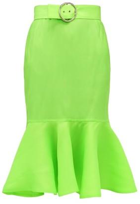 Elzinga - Belted Silk-organza Fishtail Midi Skirt - Green