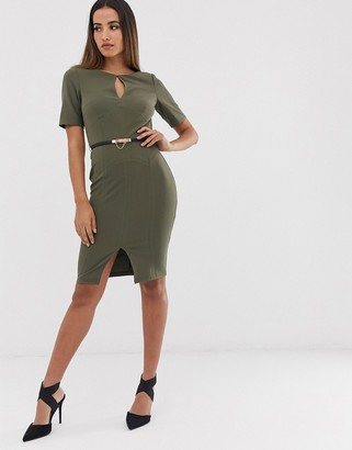 Paper Dolls 3/4 sleeve belted midi dress with keyhole detail