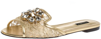Dolce & Gabbana Gold Lace Jeweled Embellishment Flat Slides Size 40.5
