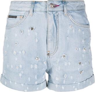 Philipp Plein Crystal-Embellished Denim Shorts