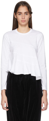 Comme des Garcons White Spiral Seams Long Sleeve T-Shirt