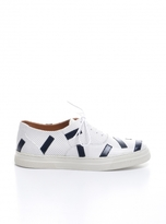 Folk Isa Trainers in Perforated White with Navy