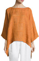 eskandar Boat-Neck Linen Tunic Top, Rust
