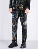 Etro Forest-patterned Straight Slim-fit Mid-rise Velvet Trousers