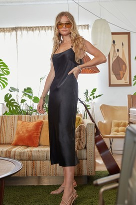 Nasty Gal Womens Cowl's It Hanging Satin Midi Dress - Black