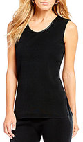 Ming Wang Scoop Neck Faux Leather Trim Tank