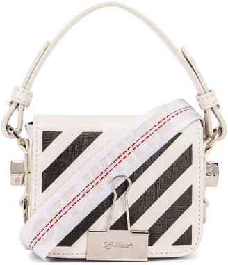 Off-White Off White Diagonal Baby Flap Bag in White & Black   FWRD