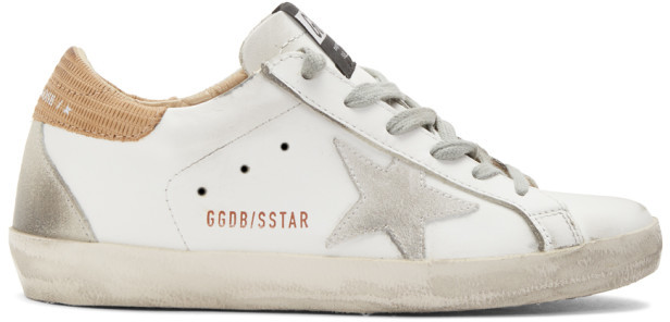 Golden Goose White Lizard Superstar Sneakers