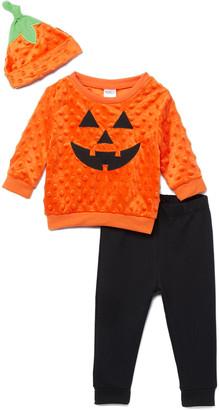 Baby Starters Casual Pants Orange - Orange & White Pumpkin Face Tee Set - Infant
