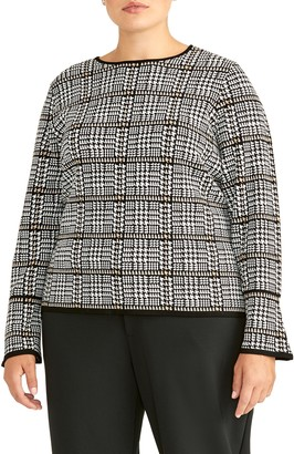 Rachel Roy Collection Plaid Flare Sleeve Wool Blend Sweater