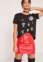 Missguided Patch T-Shirt Black