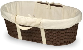 Badger Basket Boys Girls Neutral Wicker-Look Woven Baby Moses Basket with Bedding