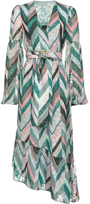 Pinko Zigzag Print Belted Dress