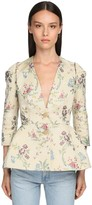 Brock Collection Flower Jacquard Silk Blend Peplum Jacket