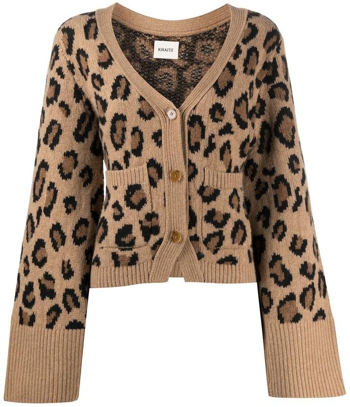 Thumbnail for your product : KHAITE Leopard Cashmere Knit Cardigan