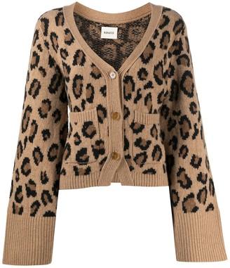 KHAITE Leopard Cashmere Knit Cardigan