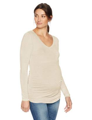Motherhood Maternity Women's Maternity Long Sleeve V-Neck Side Ruched Tee Shirt