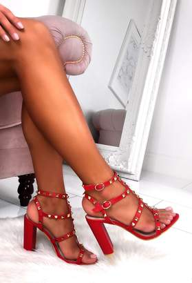 Pink Boutique Rock Steady Red Studded Cage Block Heel