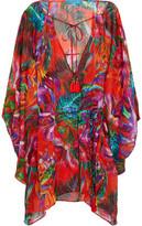 Matthew Williamson Draped Floral-Print Silk-Chiffon Coverup