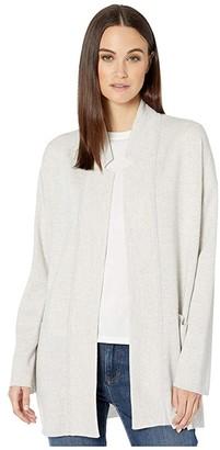 Eileen Fisher Merino Blend Notch Collar Cardigan (Pearl) Women's Clothing