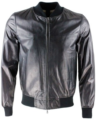 Orciani Soft Nappa Leather Jacket With Knitted College Collar, Zip Closure And Knit At The Bottom