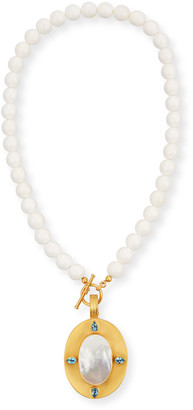 Dina Mackney Mother-of-Pearl Pendant Necklace w/ Blue Topaz