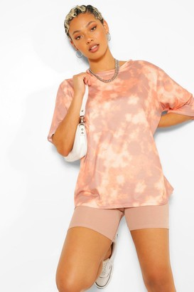 boohoo Tie Dye Oversized Elbow T Shirt