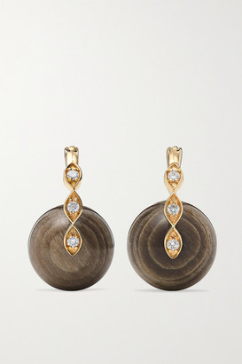 Sydney Evan 14-karat Gold, Diamond And Wood Earrings - one size