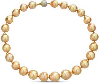BELPEARL Elegant 14k Golden South Sea Pearl Necklace, 13-15.5mm