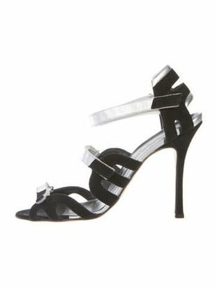 Manolo Blahnik Vintage Suede Velcro Sandals black