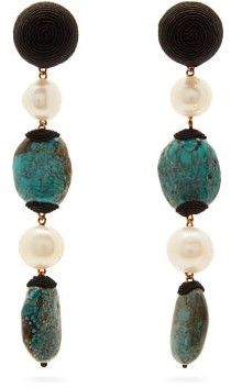 Rebecca De Ravenel Long Treasures Turquoise Drop Clip Earrings - Womens - Blue