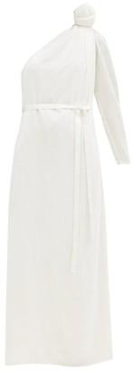 Vika Gazinskaya Knotted-shoulder Velvet Gown - White