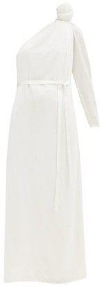 Vika Gazinskaya Knotted-shoulder Velvet Gown - Womens - White