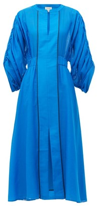 ZEUS + DIONE Rhea Ruched-sleeve Cotton-blend Dress - Blue