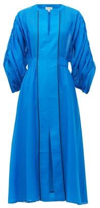 ZEUS + DIONE Rhea Ruched-sleeve Cotton-blend Dress - Womens - Blue