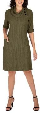 Robbie Bee Petite Cowlneck Knit Sweater Dress