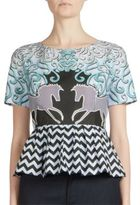 Mary Katrantzou Printed Stretch Cotton Peplum Top