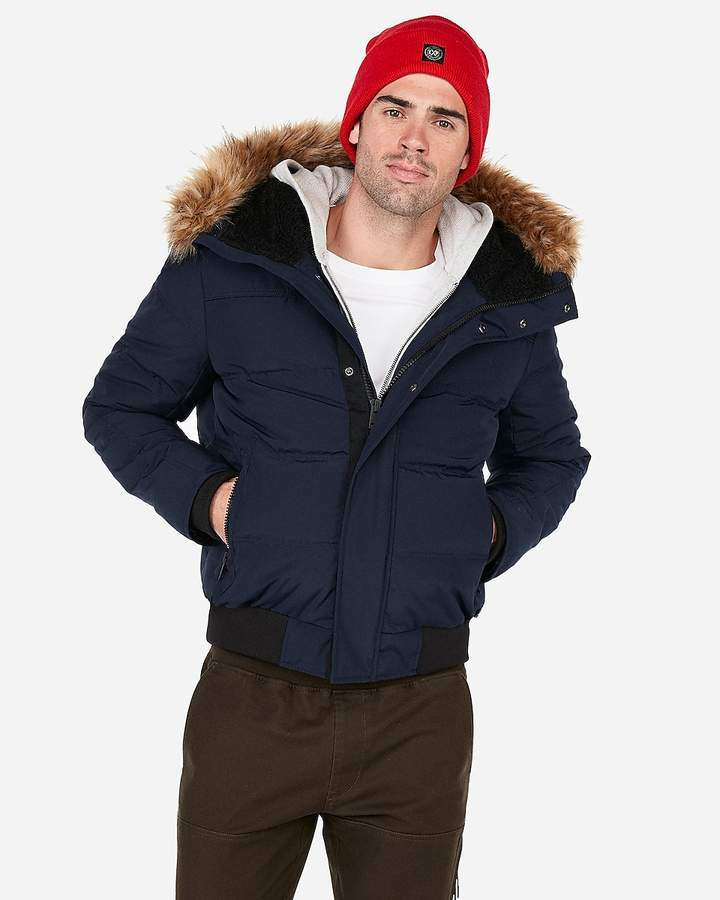 8d660497a Navy Faux Fur Lined Hooded Bomber Jacket