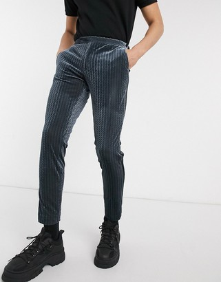 ASOS DESIGN super skinny smart trousers in grey textured velvet